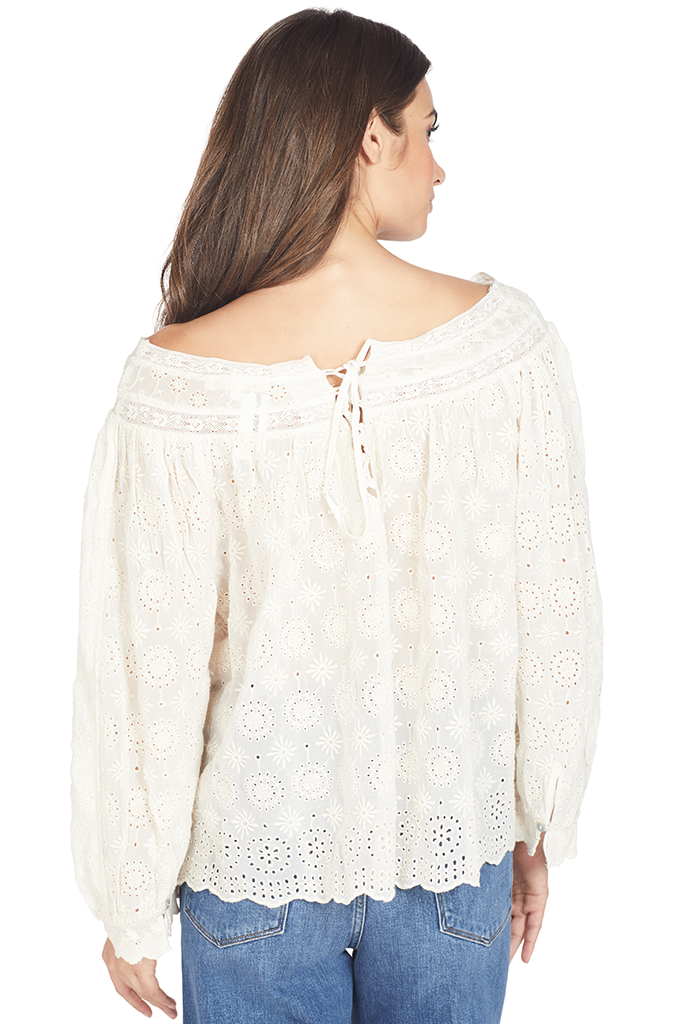 LoveShackFancy Ruth Top (Cream)