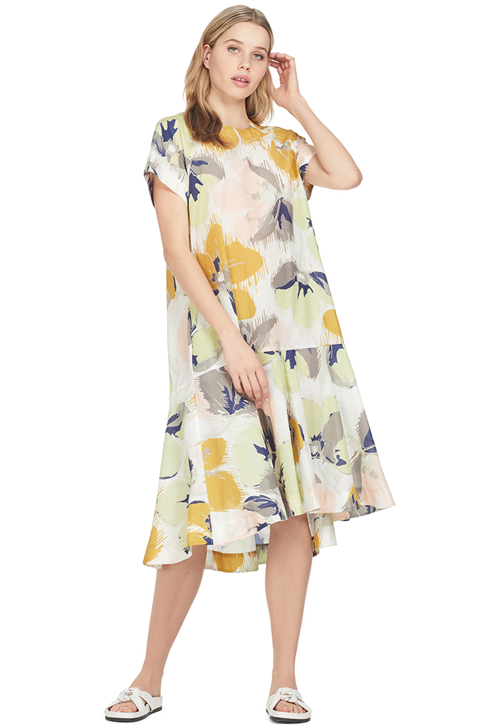 Lee Matthews Bridget Raglan Tee Dress Multi Yellow