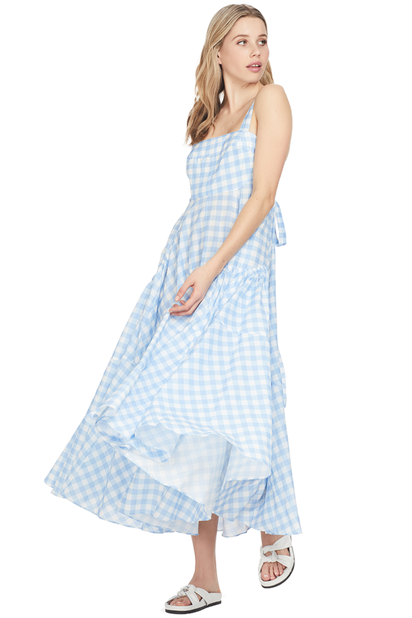Lee Matthews Clara Sun Dress Blue and White Checkered