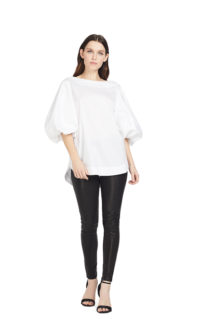 Lee Matthews Eleanor Puff Sleeve Blouse White