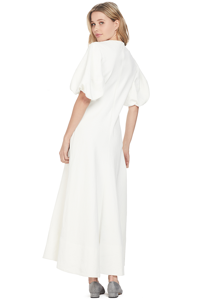 Lee Matthews Georgia Puff Sleeve Dress White