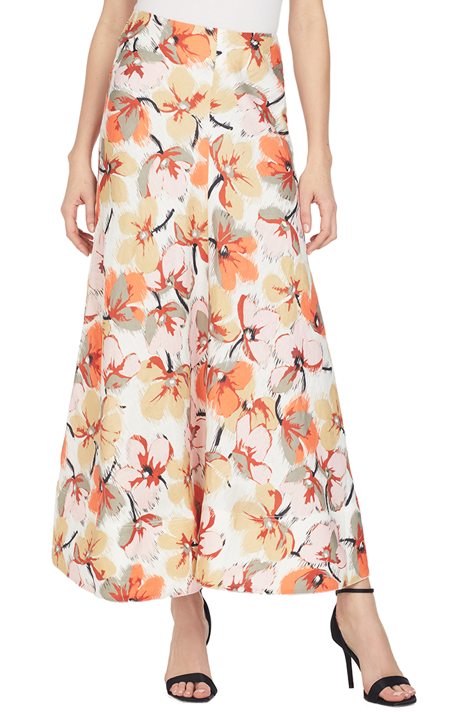 Lee Matthews Margot Bias Maxi Skirt Floral Orange