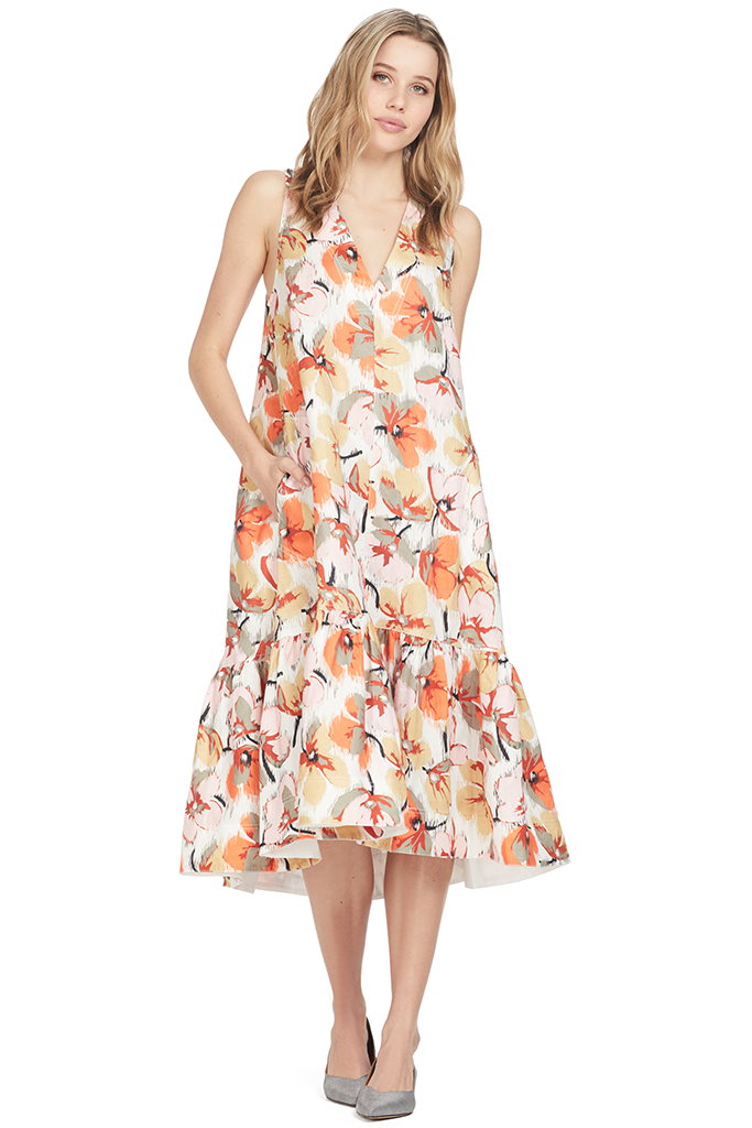 Lee Matthews Margot Parasole Dress Floral Orange