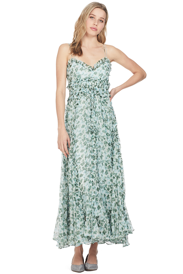 Lee Matthews Nina Crinkle Cami Dress Blue Green Floral