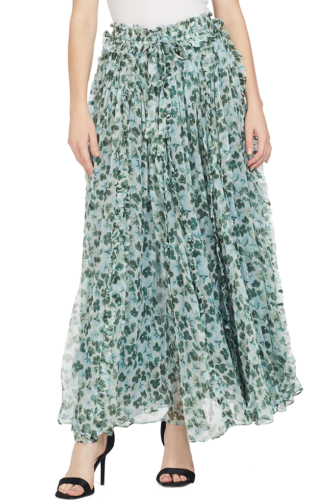 Lee Matthews Nina Crinkle Skirt Blue Green Floral