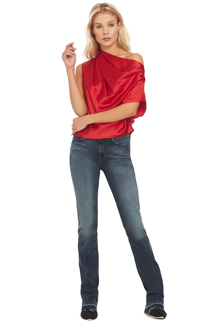 Michelle Mason Asymmetrical Draped Top (Red)