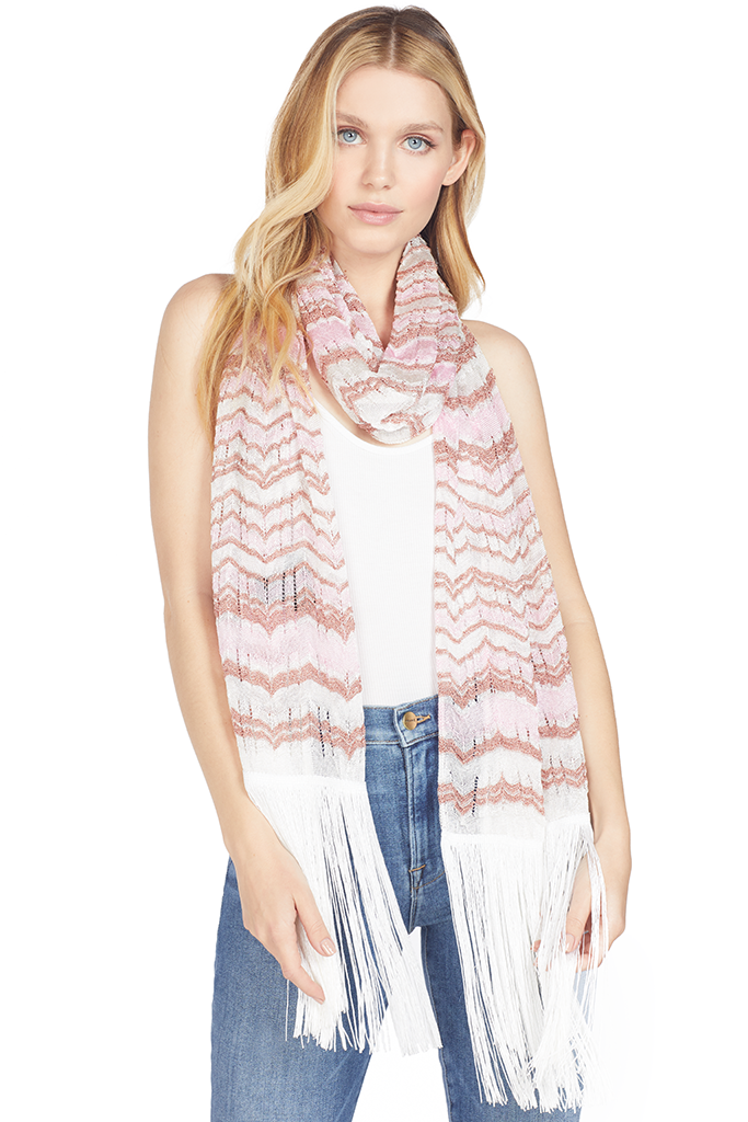 Missoni Pink and Rose Gold Lurex Chevron Scarf