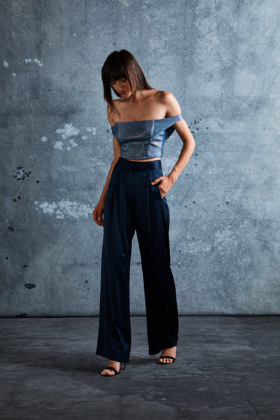 Midnight Silk Charmeuse Wide Leg Trouser