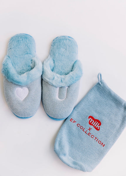 Milk x EF Collection Cashmere Slippers - Love U Blue