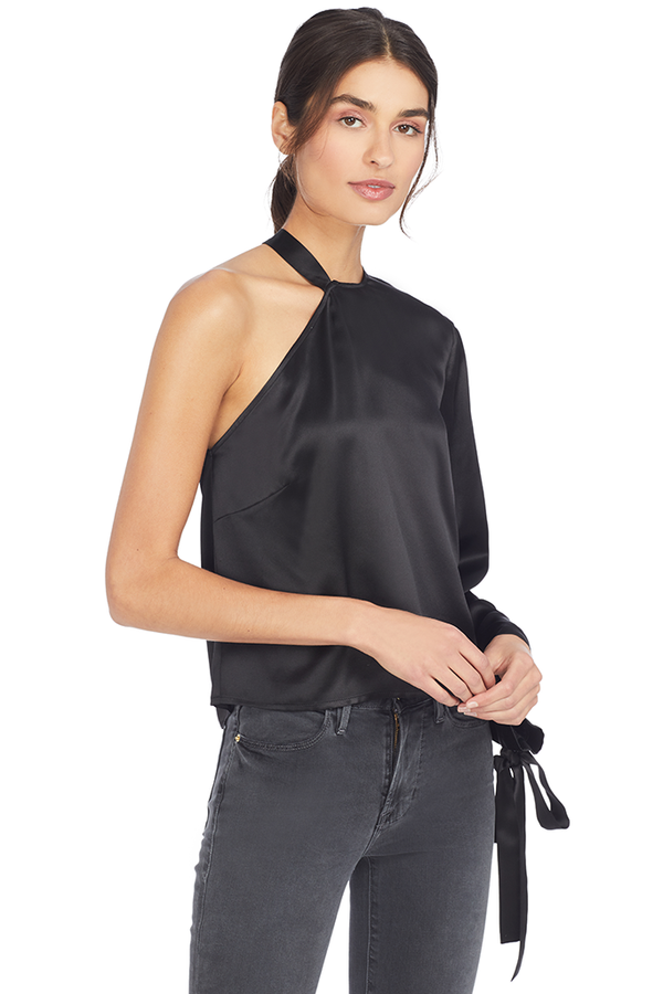 Michelle Mason Black Silk Charmeuse One Sleeve Top with Ties