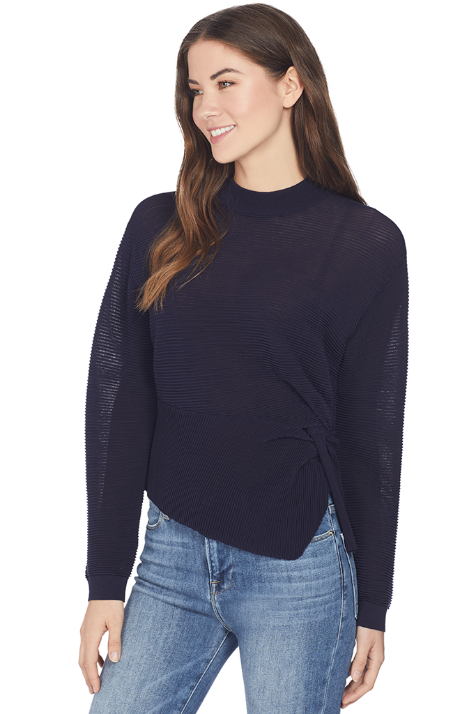Mason by Michelle Mason Long Sleeve Twist Sweater (Black Currant)