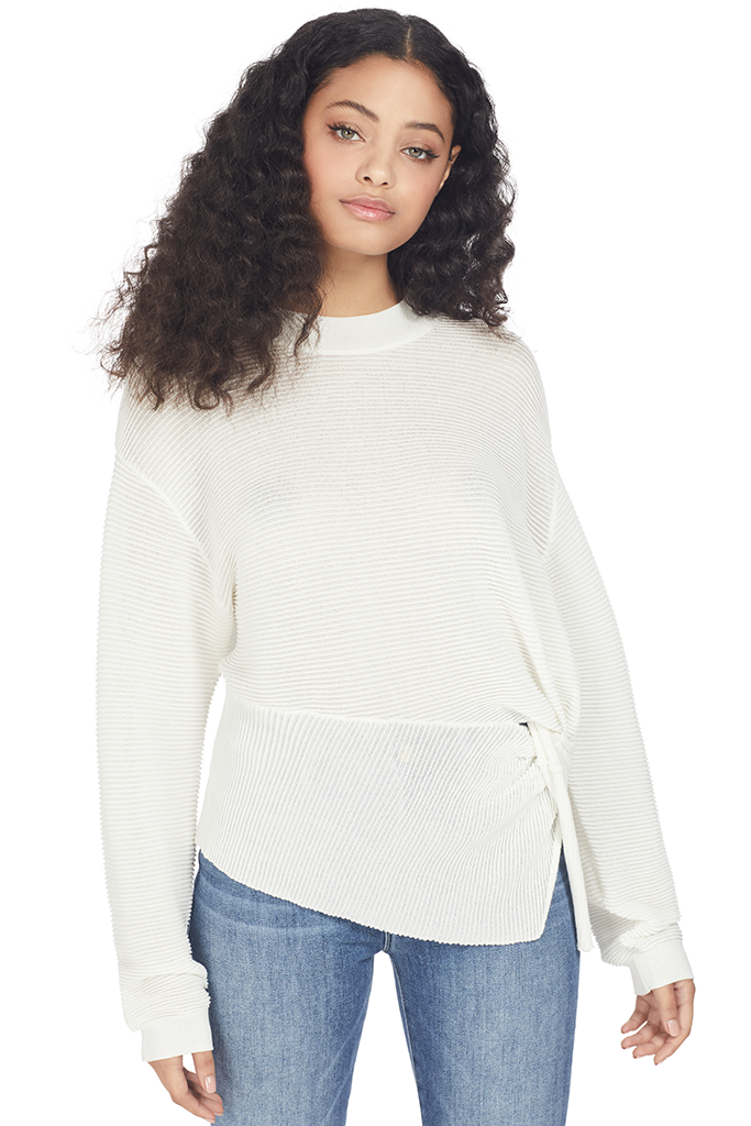 Mason by Michelle Mason Long Sleeve Twist Sweater (Ivory)