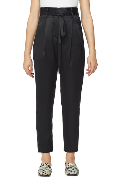 Michelle Mason Crop Silk Paperbag Trousers
