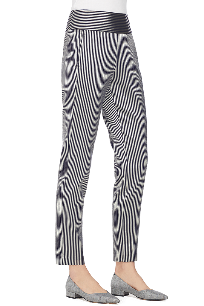Mason by Michelle Mason Stripe Sateen Trouser (Silver Stripe)