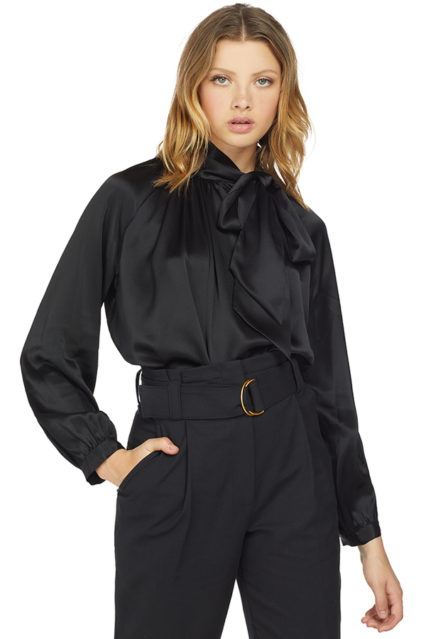 Michelle Mason Tie Neck Blouse Black
