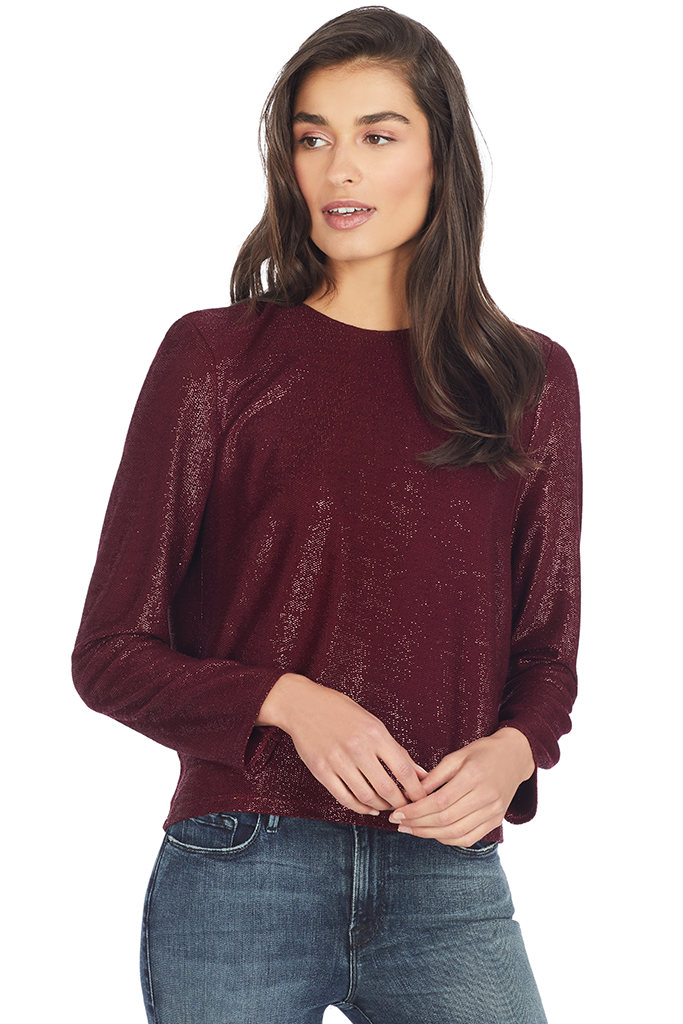 Michelle Mason Wine Shimmer Jersey Tee with Crystals