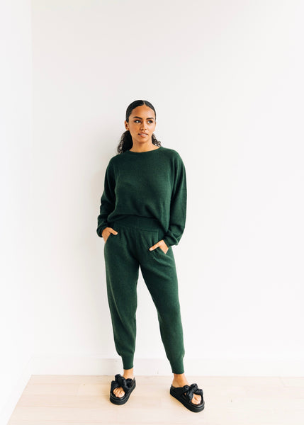 Milk Boutique Cashmere Jogger Set - Forest Green