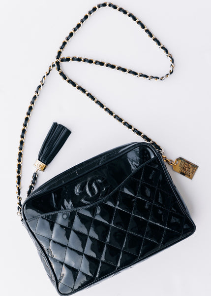 Chanel Vintage Patent Camera Bag - Black Patent