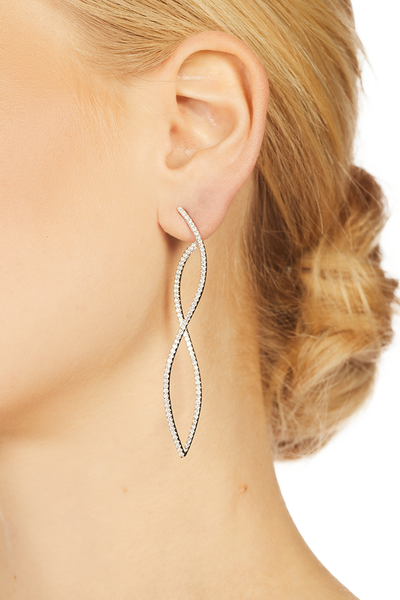 18K White Gold Diamond Twist Earrings