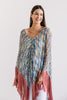 Blue Chevron Rose Fringe Poncho - One Size