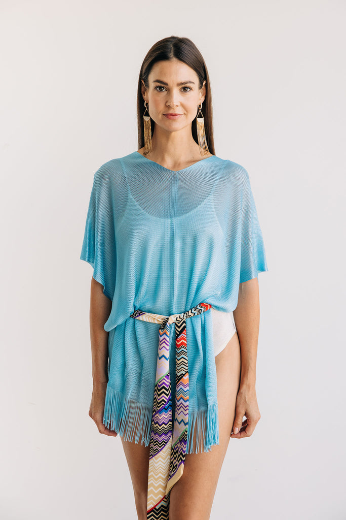 Blue Cover Up with Chevron Belt - One Size
