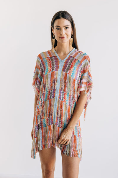 Layered Fringe Rainbow Chevron Poncho - One Size