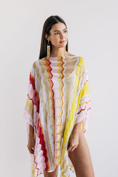 Yellow Pink and Gold Chevron Poncho - One Size