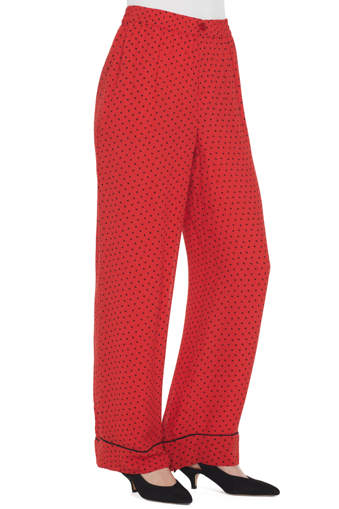 Ganni Mullin Georgette Pants (Fiery Red)