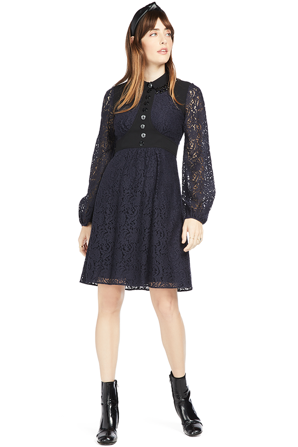 N21 Amelia Jewel Collar Paneled Lace Dress Black Navy