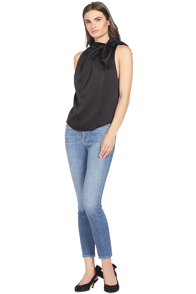 Nanushka Halter Neck Scarf Top (Black)