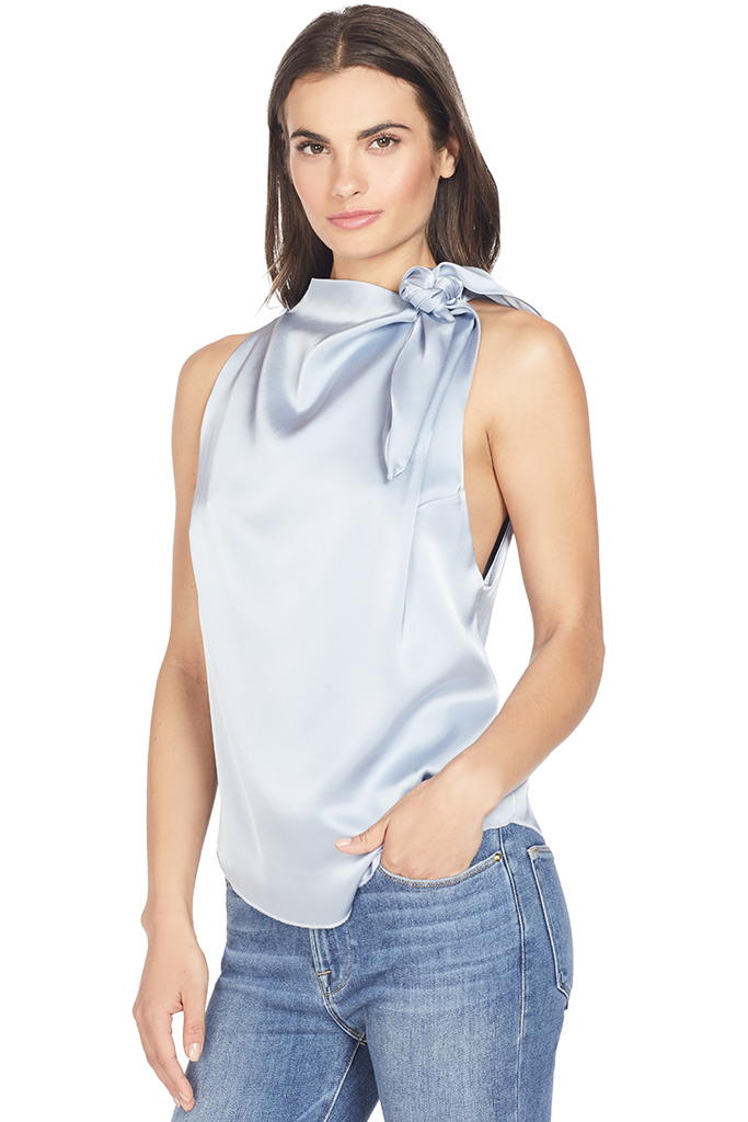 Nanushka Halter Neck Scarf Top (Ice Blue)