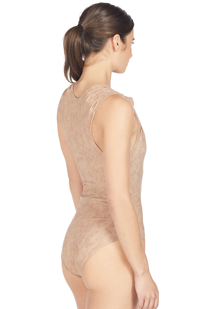 Nanushka Knot Swimsuit (Cold Taupe)