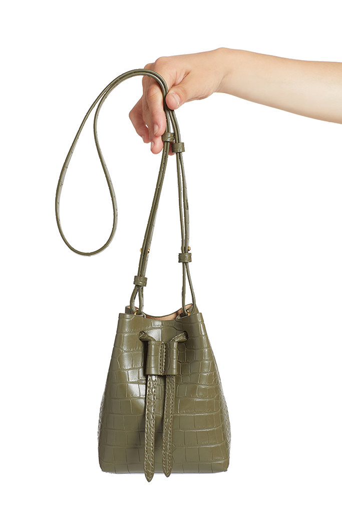 Nanushka Minee Convertable Bucket Bag (Khaki)