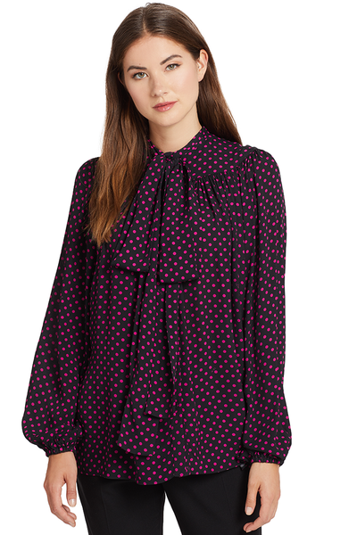 Numero Ventuno No. 21 Polka Dot Pussy Bow Blouse (Pink/Black)