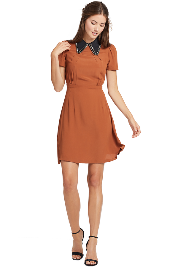 Numero Ventuno Crystal and Zip Collar Dress (Pale Brown)