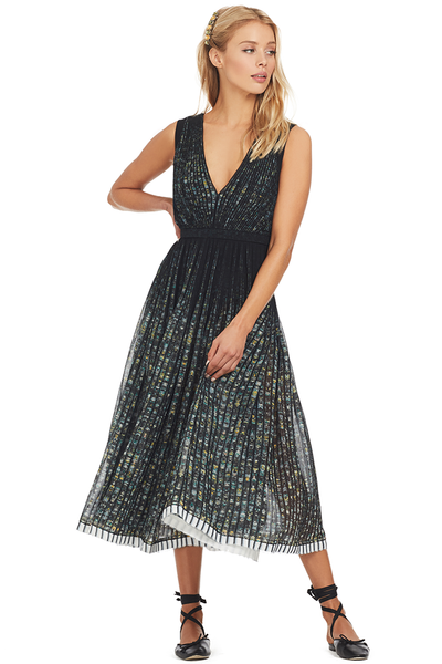 Numero Ventuno (No. 21) Printed Sunray Pleat Midi Dress
