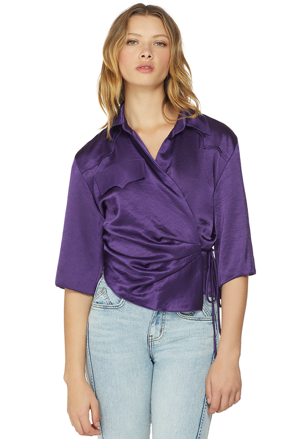 Asymmetric Wrap Top (Purple)