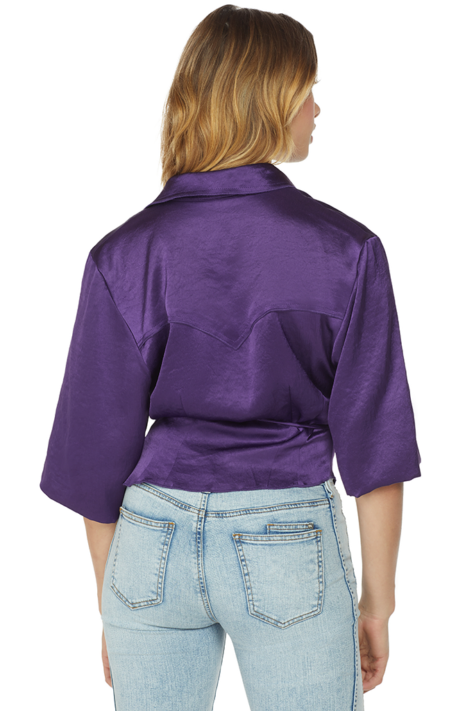 Nanushka Asym Wrap Top Purple