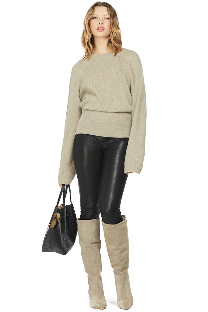 Nanushka Cropped Cable Knit Sweater stone