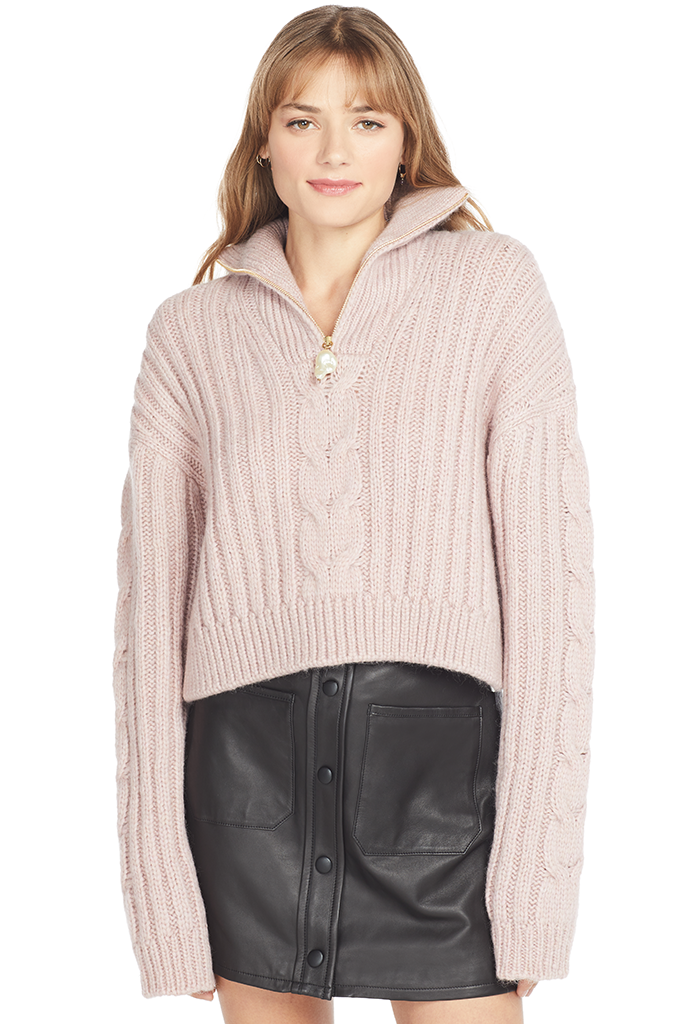 Nanushka Cropped Cable Knit Sweater (Pink)