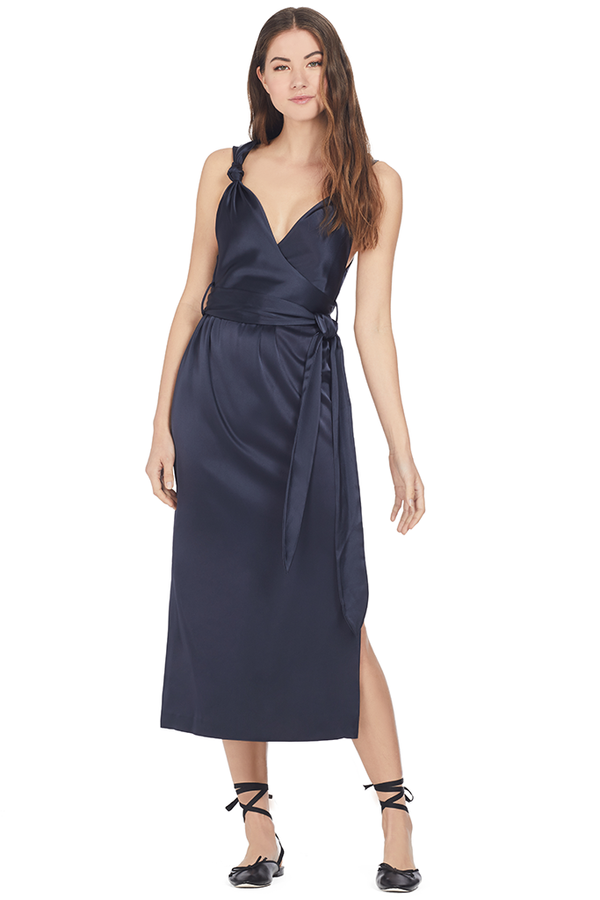 Nanushka Shanit Satin Knot Detail Dress (Navy)