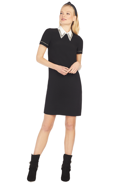 Crystal Embellished Point-Collar Shift Dress - Black