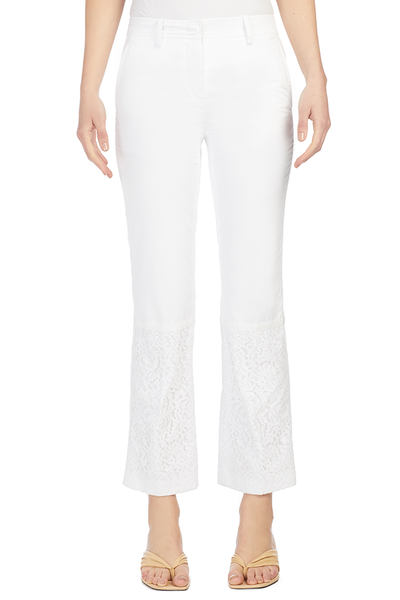Lace Insert Pants - White