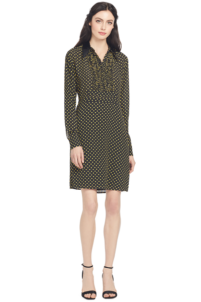 Numero Ventuno Contrast Collar Polka Dot Dress (Black/Yellow)