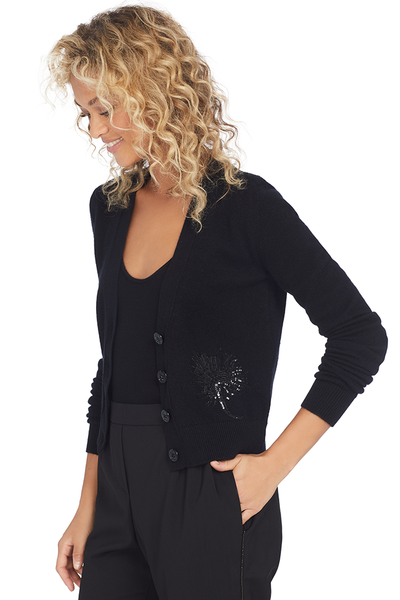 No. 21 Numero Ventuno Cropped Cashmere Sequin Cardigan (Black)