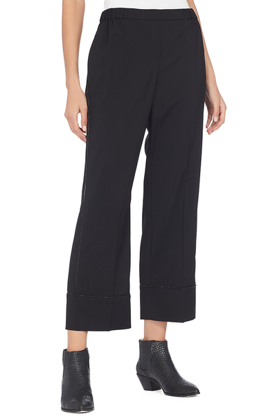 Numero Ventuno No. 21 Cropped Jewel Wool Pajama Pants (Black)