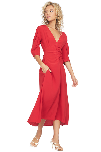 No. 21 Numero Ventuno Gathered Midi Dress (Red)