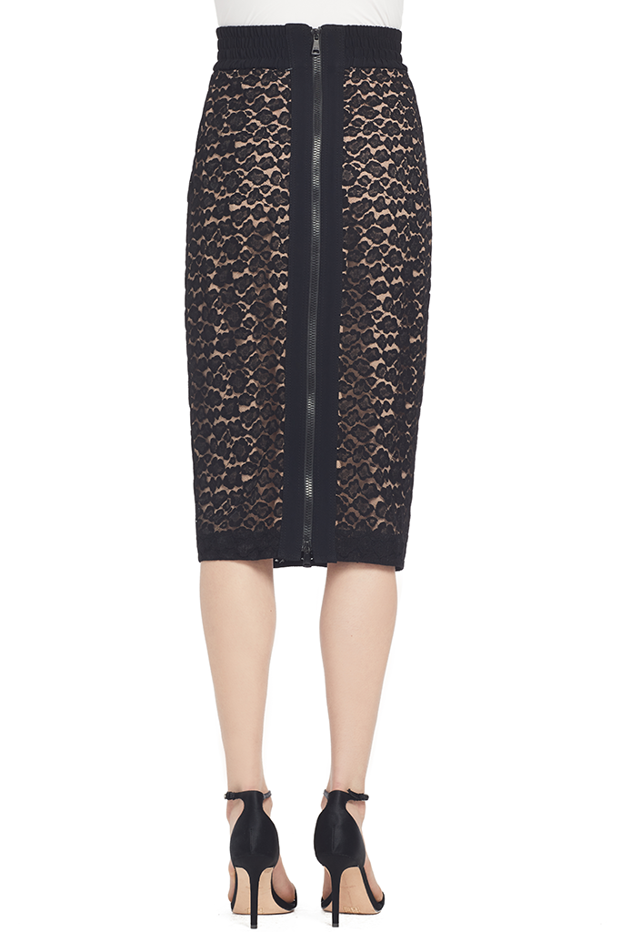 Numero Ventuno Lace Pencil Skirt (Black) - 38