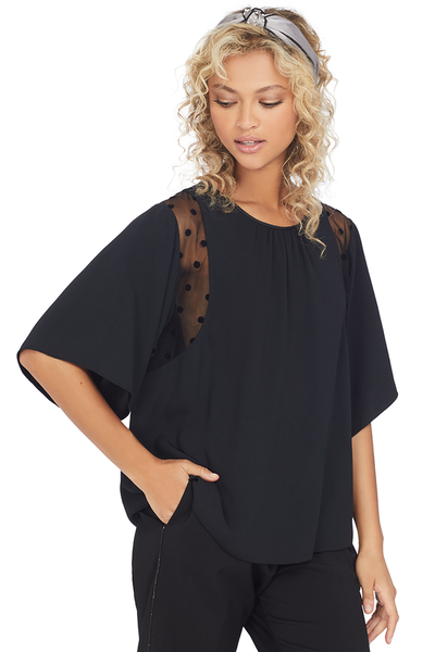 Numero Ventuno No. 21 Polka Dot Sheer Panel Silk Blouse (Black)