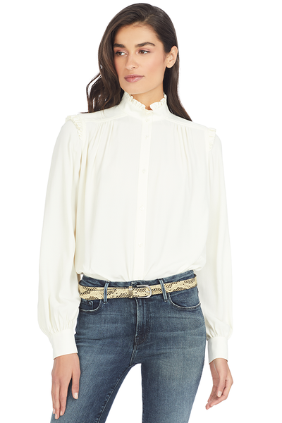 Numero Ventuno No. 21 Ruffle Trimmed Crepe Blouse (Ivory)